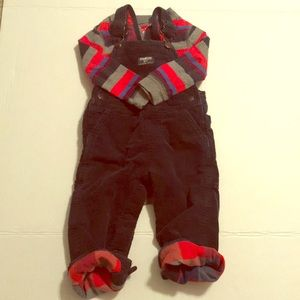 OshKosh corduroy overalls & long sleeve onesie EUC